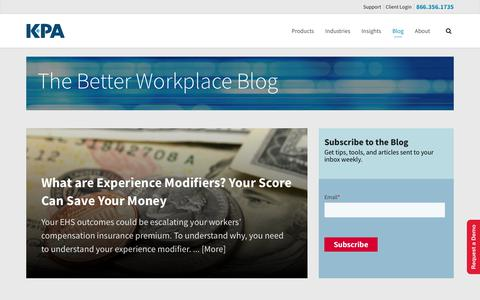Screenshot of Blog kpaonline.com - The Better Workplace Blog - KPA - captured April 13, 2019