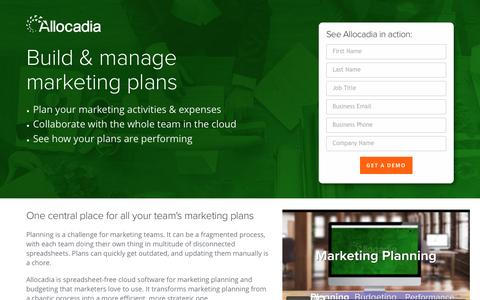 Screenshot of Landing Page allocadia.com - Marketing Plans | Marketing Planning with Allocadia - captured Feb. 2, 2017