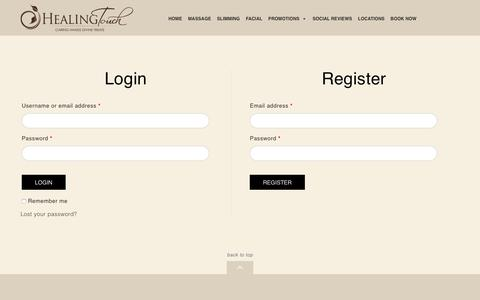 Screenshot of Signup Page Login Page healingtouchspa.com - My Account - captured Oct. 21, 2018