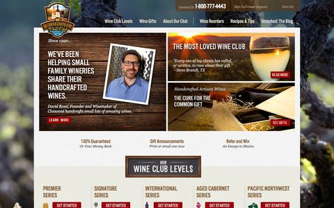 Screenshot of Home Page cawineclub.com - Wine of the Month Club | Wine Clubs | The California Wine Club - captured Jan. 19, 2016