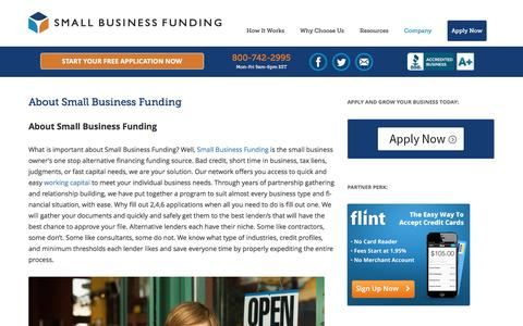 Screenshot of About Page smallbusinessfunding.com - About Small Business Funding - captured Jan. 25, 2017