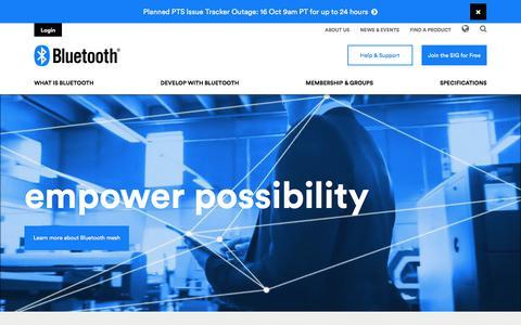 Screenshot of Home Page bluetooth.com - Bluetooth Technology Website - captured Oct. 10, 2017
