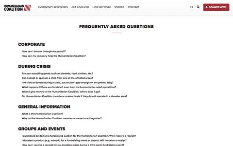 Screenshot of FAQ Page humanitariancoalition.ca - Frequently Asked Questions   Humanitarian Coalition - captured July 15, 2018