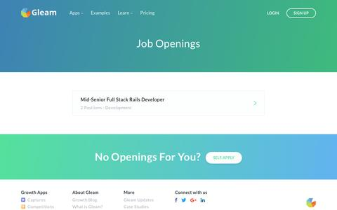 Screenshot of Jobs Page gleam.io - Work at Gleam: Come Build Something Awesome! - captured March 1, 2018