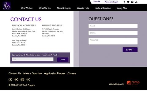 Screenshot of Contact Page aplusyouthprogram.org - A PLUS Youth Program - captured Sept. 30, 2014