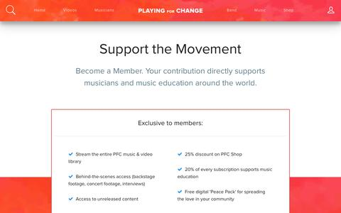 Screenshot of Signup Page playingforchange.com - Members - Playing for Change - captured July 13, 2016