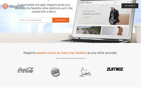 Screenshot of Landing Page magento.com - Magento Digital Commerce - captured April 1, 2018