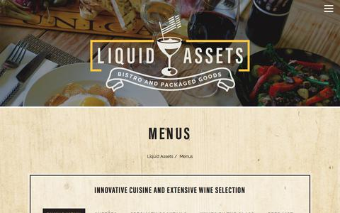 Screenshot of Menu Page la94.com - Menus | Ocean City MD Wine Bar & Restaurant Liquid Assets - captured July 3, 2018