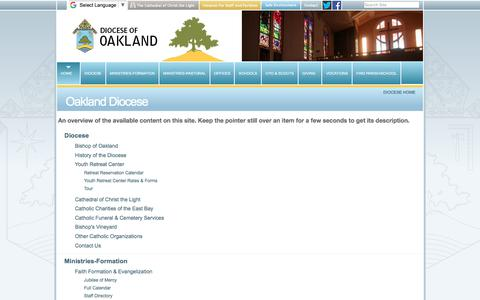 Screenshot of Site Map Page oakdiocese.org - Oakland Diocese - captured Oct. 12, 2017