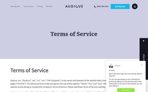 Screenshot of Terms Page audicus.com - Audicus says… - captured Nov. 4, 2018