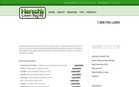 Screenshot of Products Page herschslawnspray.com - Products | Hersch's Lawn Spray - captured Dec. 8, 2018