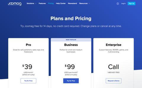 Screenshot of Pricing Page joomag.com - Teni says… - captured Feb. 22, 2018