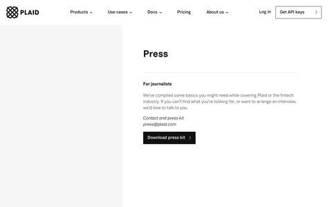 Screenshot of Press Page plaid.com - Press - Plaid - captured Sept. 20, 2018
