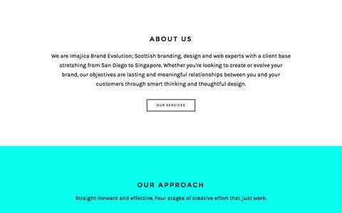 Screenshot of Home Page imajica.com - We are Imajica Brand Evolution; Scottish branding, design and web experts - captured Nov. 25, 2016