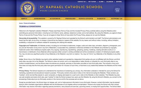 Screenshot of Terms Page straphaella.org - Terms & Conditions | St. Raphael Catholic School - captured June 14, 2016