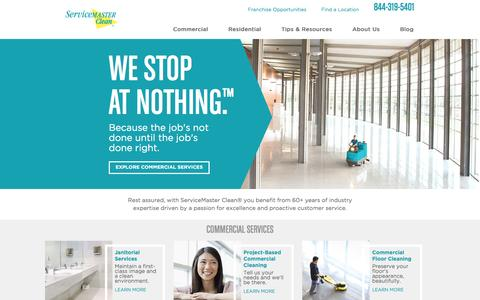 Screenshot of Home Page servicemasterclean.com - Commercial, Janitorial  and Residential Cleaning Services | ServiceMaster Clean - captured April 28, 2016