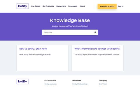 Screenshot of FAQ Page Support Page botify.com - Knowledge Base - captured Aug. 3, 2018