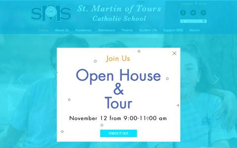 Screenshot of Home Page smsmd.org - St. Martin of Tours School | Catholic | Gaithersburg | - captured Oct. 31, 2018