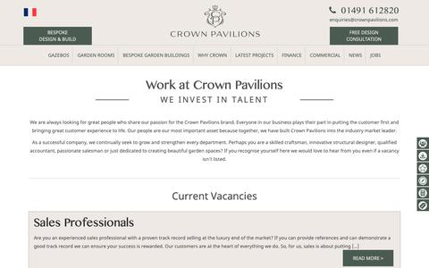 Screenshot of Jobs Page crownpavilions.com - Work at Crown Pavilions - Crown Pavilions - captured Sept. 29, 2018
