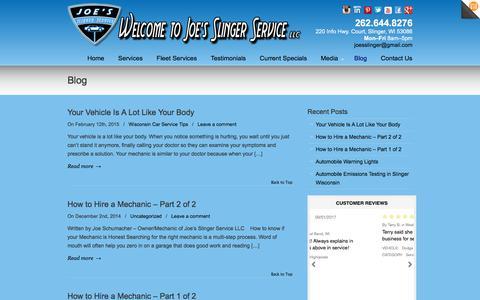 Screenshot of Blog joesslingerservice.com - Blog | Joe's Slinger Service - captured Oct. 16, 2017