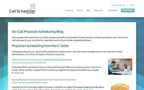 Screenshot of Blog call-scheduler.com - Physician Scheduling Blog by Call Scheduler - captured May 19, 2018