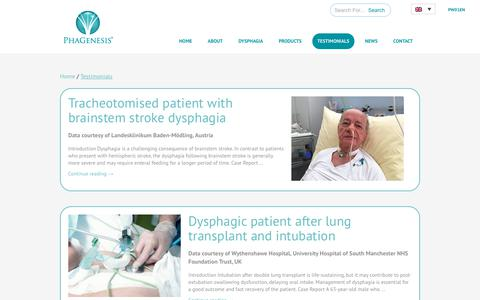 Screenshot of Testimonials Page phagenesis.com - Testimonials   Phagenesis - captured Jan. 18, 2019