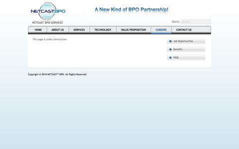 Screenshot of FAQ Page netcastbpo.com - NETCAST™ BPO - FAQs - captured Oct. 7, 2014