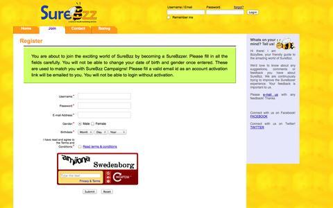 Screenshot of Signup Page surebzz.com - SureBzz: Join as a SureBzzer - captured Oct. 1, 2014