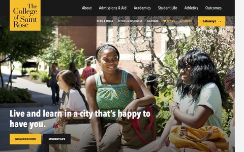 Screenshot of Home Page strose.edu - The College of Saint Rose - captured Feb. 20, 2016