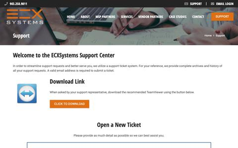 Screenshot of Support Page ecxsystems.com - Contact Our Support Team | ECXSystems - captured Oct. 24, 2018