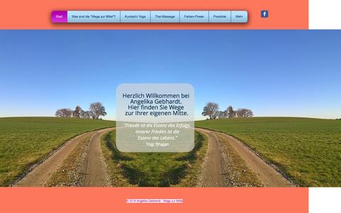 Screenshot of Home Page angelika-gebhardt.com - Angelika Gebhardt Wege zur Mitte Yoga Massage Farbe Wasserburg - captured Feb. 24, 2016