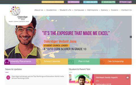 Screenshot of Home Page oakridge.in - India's Premium International School - Oakridge.in - captured June 21, 2017