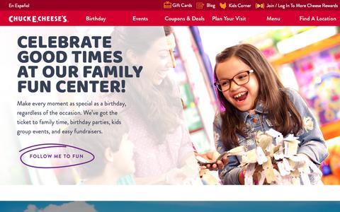 Screenshot of Home Page chuckecheese.com - Family Fun Center, Restaurant & Arcade | Chuck E. Cheeses - captured Nov. 3, 2018