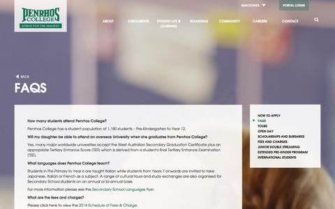 Screenshot of FAQ Page penrhos.wa.edu.au - FAQs - Penrhos College   Perth Girls School   Perth Private School - captured Oct. 2, 2014