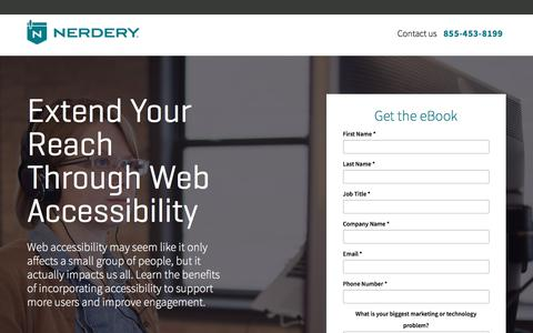 Screenshot of Landing Page nerdery.com - Web Accessibility | Nerdery - captured May 26, 2018