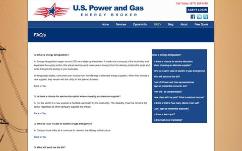 Screenshot of FAQ Page uspowerandgas.com - Frequently Asked Questions: US Power and Gas - captured Sept. 30, 2014
