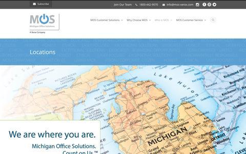 Screenshot of Locations Page mos-xerox.com - Michigan Office  Solutions (MOS) | Michigan Locations - captured Nov. 28, 2016