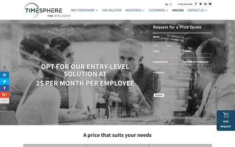 Screenshot of Pricing Page timesphere.com - Employee Scheduling Price - Starts at 2$/month/employee - captured July 11, 2018