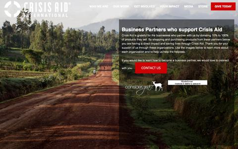 Screenshot of Products Page crisisaid.org - Shop Products from our Business Partners and support Crisis Aid Today - captured Sept. 30, 2018