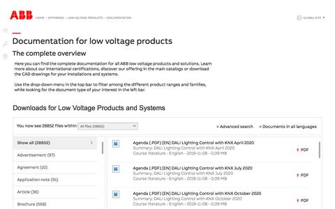 Screenshot of Support Page abb.com - Documentation for low voltage products   ABB - captured Nov. 9, 2019