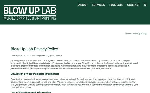 Screenshot of Privacy Page blowuplab.com - Privacy Policy of Blow Up Lab - a Murals, Graphics and Art Printer - captured Aug. 2, 2018