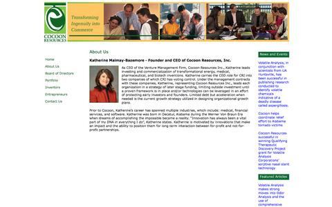 Screenshot of About Page cocoonresources.com - Cocoon - Transforming Ingenuity into Commerce - captured Oct. 3, 2014