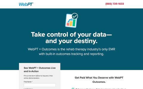 Screenshot of Landing Page webpt.com - WebPT | Outcomes - captured Aug. 18, 2016
