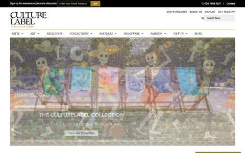 Screenshot of Home Page culturelabel.com - Unique Gifts & Unusual Present Ideas | CultureLabel London - captured Oct. 1, 2015