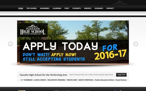 Screenshot of Home Page tuacahnhs.org - Tuacahn High School for the Performing Arts - captured June 17, 2016