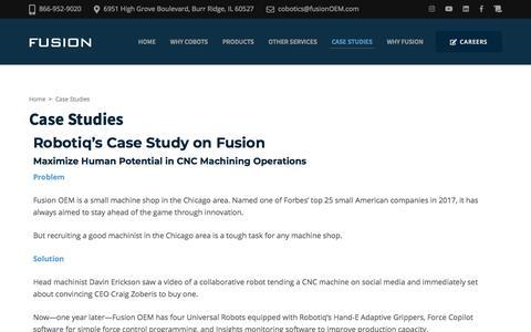 Screenshot of Case Studies Page fusionoem.com - Case Studies – Fusion Cobotics - captured Jan. 3, 2020