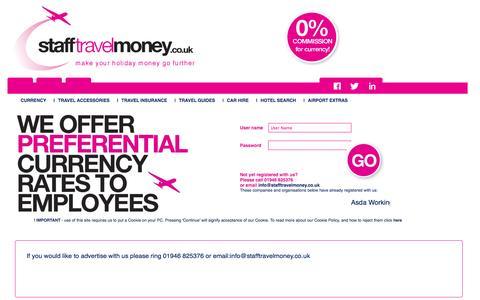 Screenshot of Home Page stafftravelmoney.co.uk - Staff Travel Money - Travel Money and Foreign Currency Exchange - captured Oct. 9, 2014