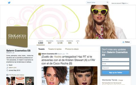 Screenshot of Twitter Page twitter.com - Salerm Cosmetics ES (@salerm_es) | Twitter - captured Oct. 23, 2014