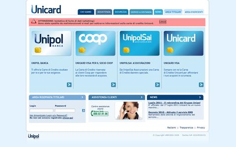 Screenshot of Home Page Privacy Page unicard.it - UNICARD - captured Oct. 7, 2014