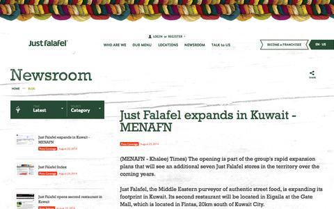 Screenshot of Blog Press Page justfalafel.com - Just Falafel • Blog - captured Oct. 23, 2014